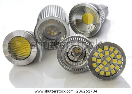 different cooling used for various light-emitting chips on some various GU10 LED bulbs - stock photo