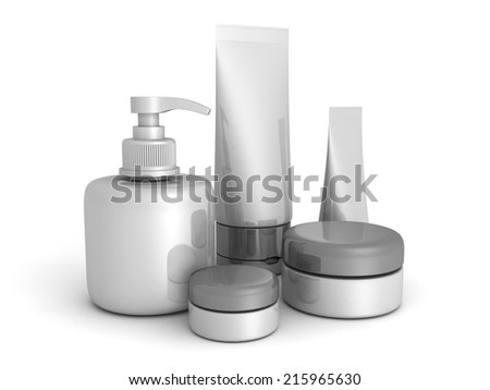 different cosmetic products on white background. 3d render illustration - stock photo