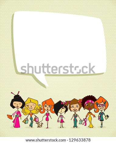 Different cultures women in 8 march Woman Day greeting card. - stock photo