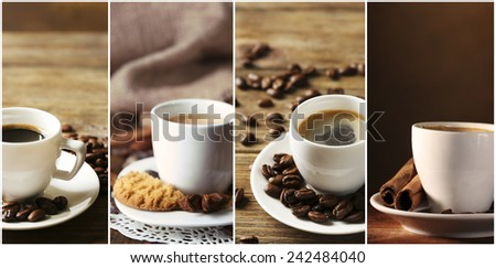 Different cups of coffee in collage - stock photo