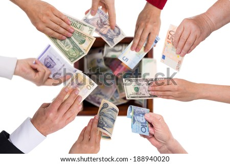 different currencies concept crowdfunding or global financing - stock photo
