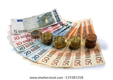 Different currency of paper euro money