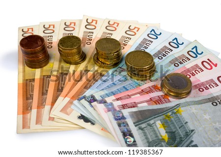 Different currency of paper euro money and coins