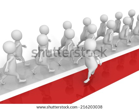 different 3d man walks in another way. success concept 3d render illustration - stock photo