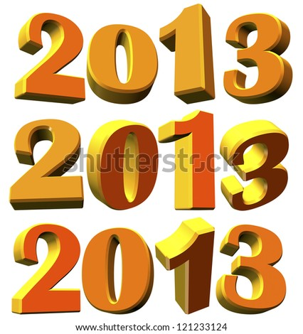 Different 3D models of the new year 2013 on white background - stock photo