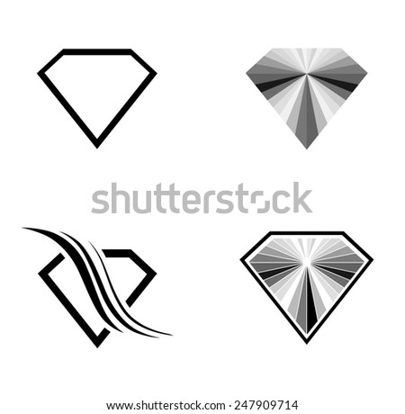 Different Diamond Logo Design Collection Over White Background - stock photo