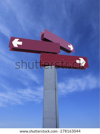 different direction road sign