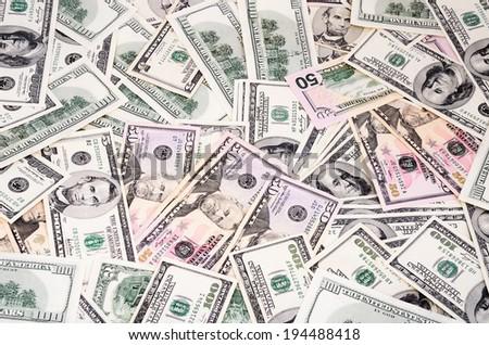 different dollar bills on the full frame - stock photo