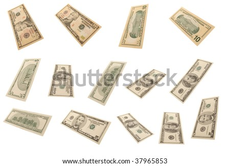Different dollar's banknotes on white background