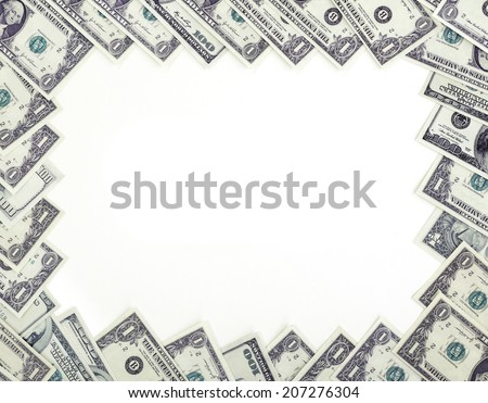 Different dollars banknotes frame