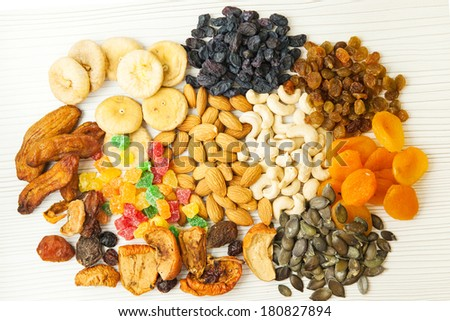 Different dried fruits and nuts mix.  - stock photo