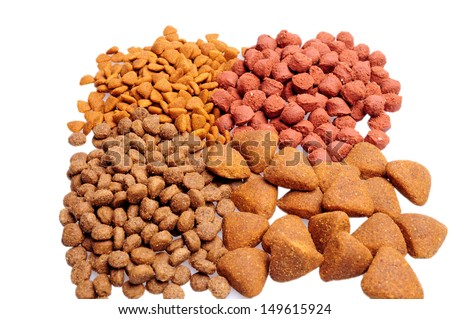 Different Dry dog food isolated on white background