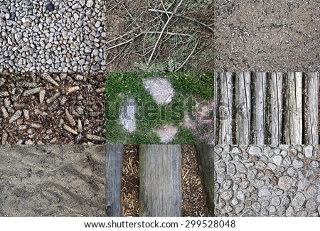 """Different elements of a """"Kneipp"""" foot spa path - stock photo"""