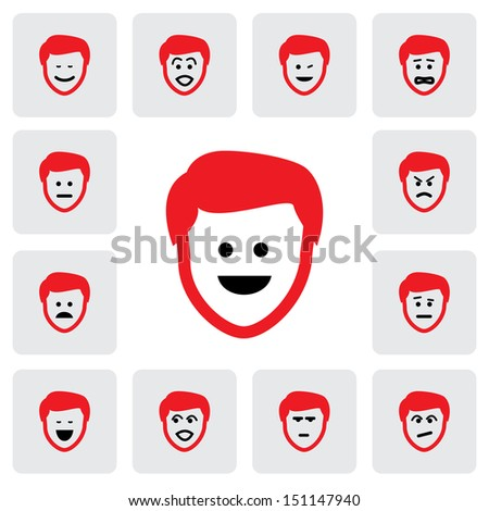 different emotions & feelings of young man's face- graphic. This illustration  represents feelings of being sad, happy, in depression,fear,worry, surprised, confident, doubtful, naughty, cheerful - stock photo