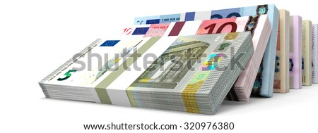 Different Euro bank notes. 3D illustration. - stock photo