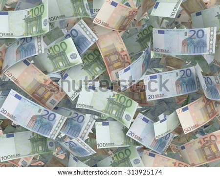 Different Euro banknotes - stock photo