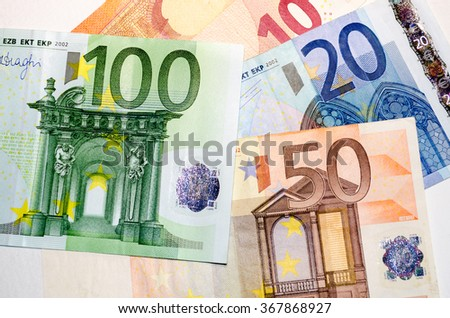 Different Euro banknotes background