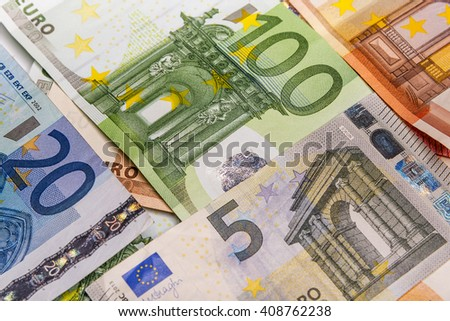 Different euro banknotes in the form of a solid background. - stock photo