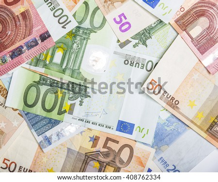 Different euro banknotes in the form of a solid background.