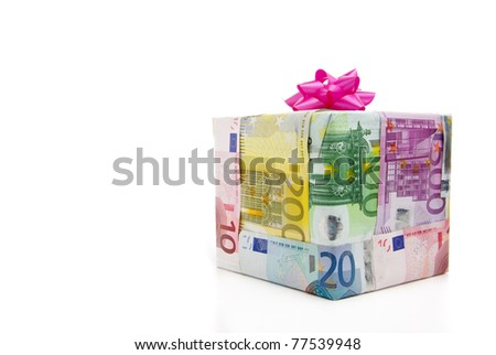 Different euro bills packed as a present isolated on a white background - stock photo