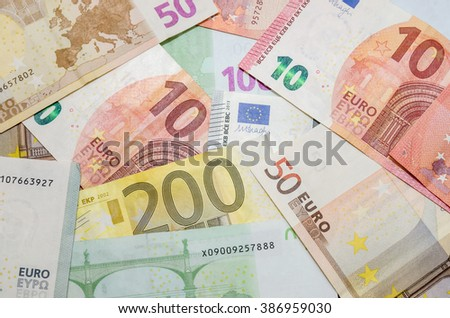 different euro money. Euro currency - stock photo