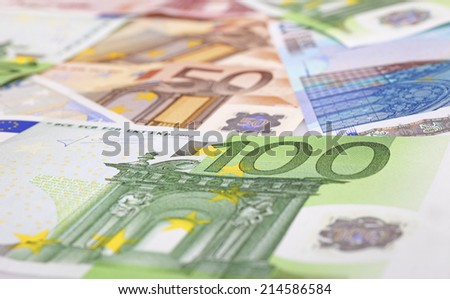Different euro notes as background - stock photo