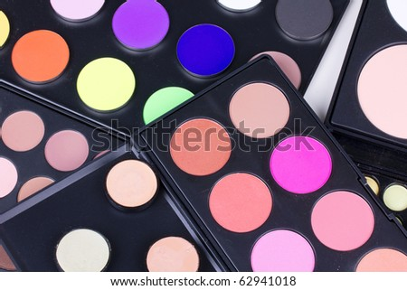 Different eyeshadows palettes, closed-up