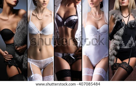 Different fashion models posing in sexy underwear. Beautiful lingerie concept.  - stock photo