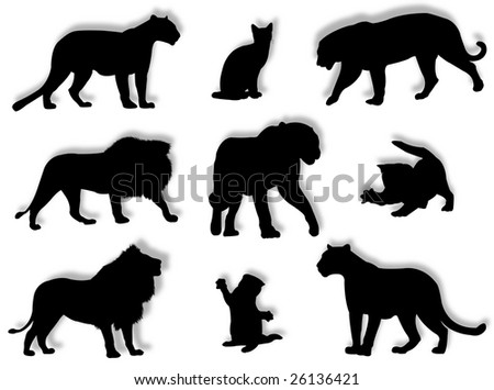 Different feline silhouettes in different poses and attitudes