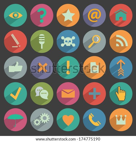 Different flat Icons for Web and Mobile Application. Raster version - stock photo