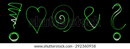 Different flourescent symbols in green neon color