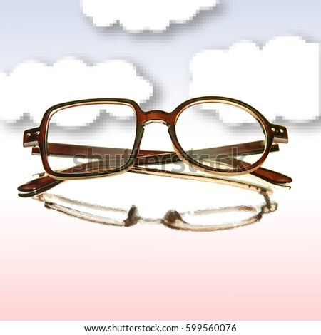 Different Frames Nonsymmetric Eyeglasses Hipster Style Stock Photo ...