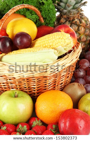 Different fruits and vegetables close-up