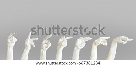 Different gestures. Set of female hands painted white. Isolated on light grey background.