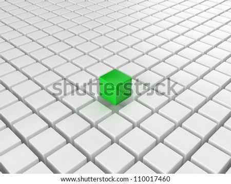 Different green cube - stock photo