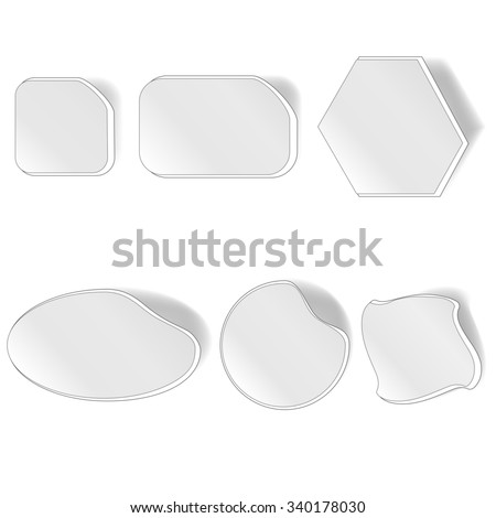 Different Grey Stickers Set Isolated on White Background - stock photo