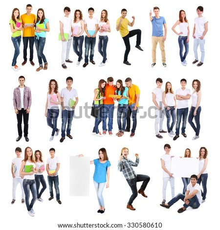 Different groups of  students, isolated on white - stock photo