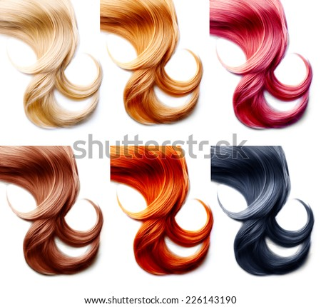 Different hair colors palette. Hair Colors Set isolated on white background. Tints  - stock photo