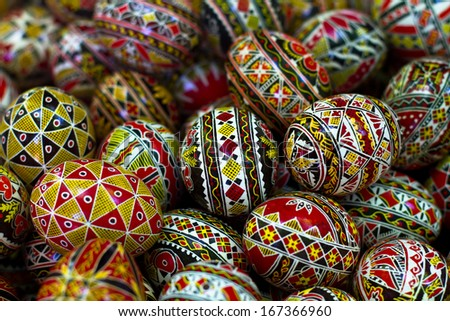 Different handmade painted easter eggs from Romania - stock photo
