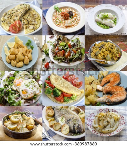 Different homemade dishes on plates. Assortment. - stock photo