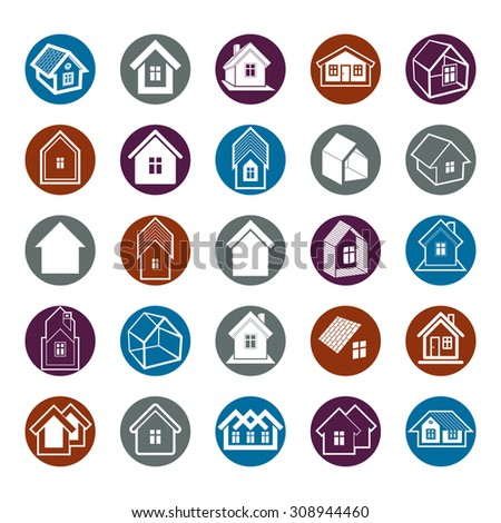 Different houses icons for use in graphic design, set of mansion conceptual symbols. Real estate business abstract emblems collection.