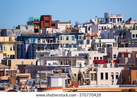 Different houses in San Francisco - stock photo