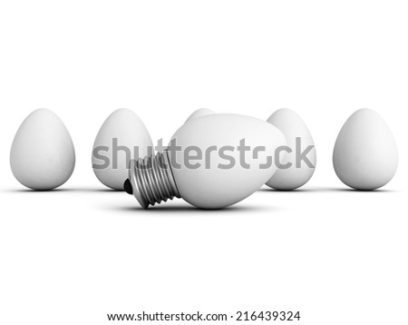 different idea light bulb lamp out from eggs crowd. 3d render illustration - stock photo