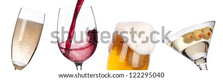 different images of alcohol isolated - beer,martini,champagne,wine,juice - stock photo