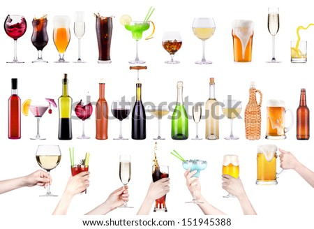 different images of alcohol isolated - beer,martini,cola,champagne,wine,juice - stock photo