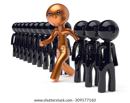 Different individuality people man character unique guy stand out from the crowd original brave think differ person otherwise run to new opportunities concept human resources icon 3d render isolated - stock photo
