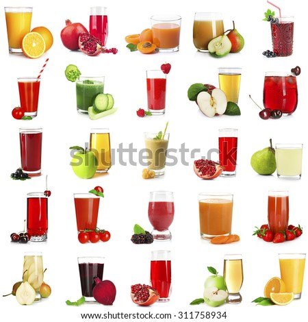 Different juices, isolated on white - stock photo