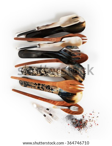 different kind and very stylish spoon with bone and wood with spices - stock photo