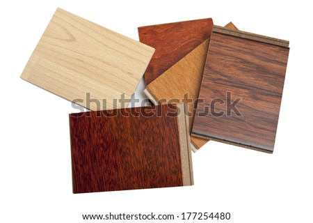 Different kind of hardwood flooring samples isolated on white - stock photo