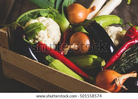 Different kind of local vegitables on the wooden rustic table. Organic food concept. Toned picture
